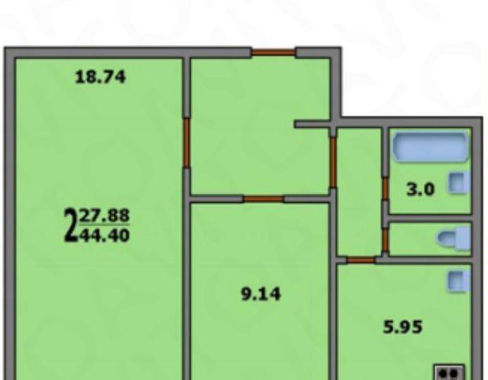 Продажа двухкомнатной квартиры Москва, метро Каширская, Пролетарский проспект 2, цена 7000000 рублей, 2021 год объявление №205746 на megabaz.ru