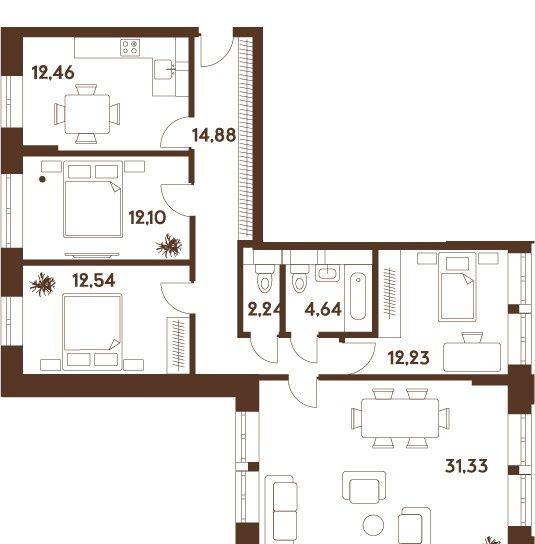 Купить четырёхкомнатную квартиру в Москве у метро Марьино - megabaz.ru