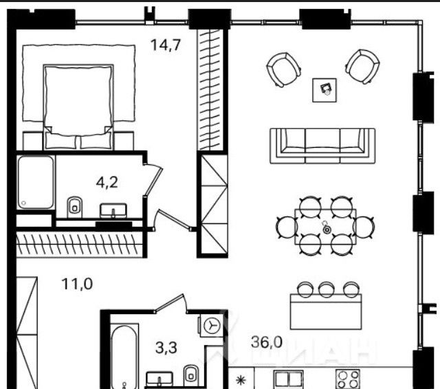 Продажа двухкомнатной квартиры Москва, метро Павелецкая, Жуков проезд 21, цена 16250000 рублей, 2021 год объявление №257706 на megabaz.ru