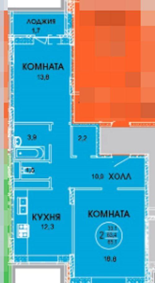 Продажа двухкомнатной квартиры поселок Смирновка, цена 2700000 рублей, 2021 год объявление №321802 на megabaz.ru